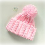 Newborn Pink Ribbed Crocheted Baby Beanie with Pompom