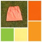 Large cotton drawstring bag, apple green, orange, lemon, toys, classroom, books