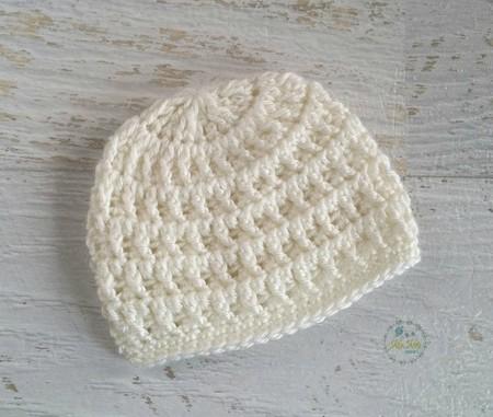 Cream Vintage Crochet Newborn Baby Beanie