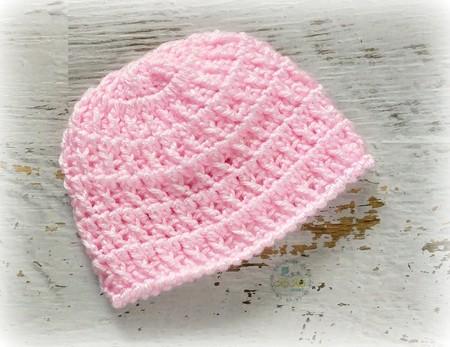 Baby Pink Vintage Crochet Newborn Baby Beanie