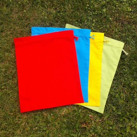 Set of 4 medium cotton drawstring bags,  primary colours, storage, toys, library