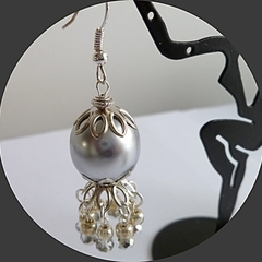 Silver grey Czech. glass pearl earrings