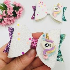 Deluxe Rainbow Unicorn Clay Hair Bow , Birthday Bow
