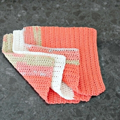Set (3) coordinating cotton face washers in peach and cream