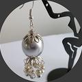 Silver grey Czech. glass pearl earrings