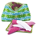 Set (3) coordinating cotton face washers in pinks and green