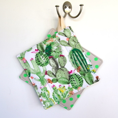 2 x Reversible Pot Holders - Flowers Cactus Garden & Neon Green Dots