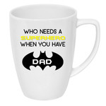 Father's Day drink bottle/coffee mug decal   Who needs a Hero - batman