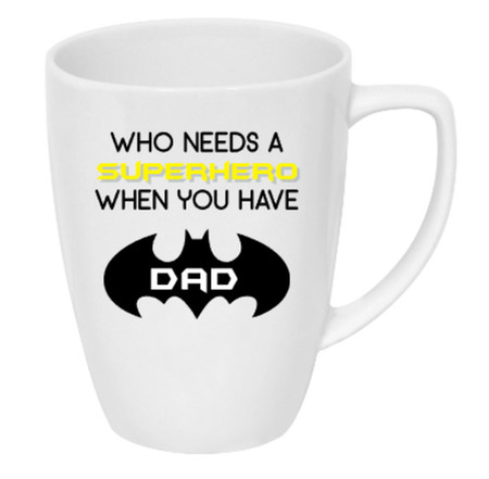 Father's Day drink bottle/coffee mug decal | Who needs a Hero - batman