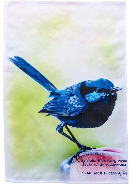 Splendid Blue Wren Tea Towel
