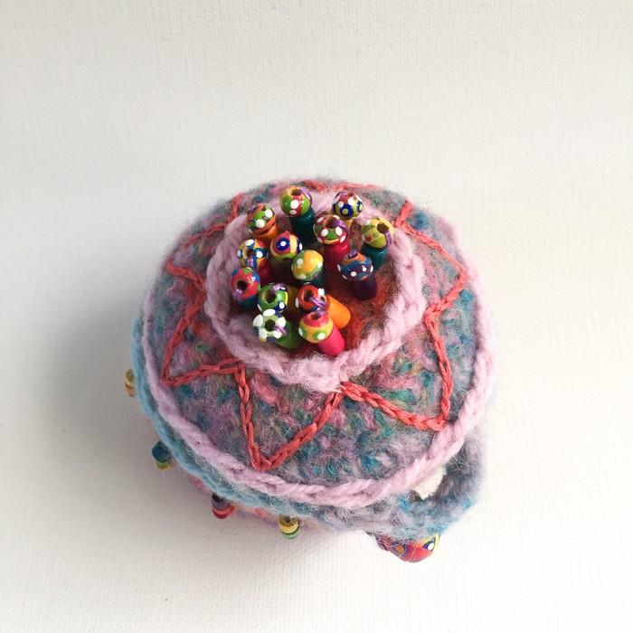 Unique embellished round felt trinket box  Pink -blue  Hand