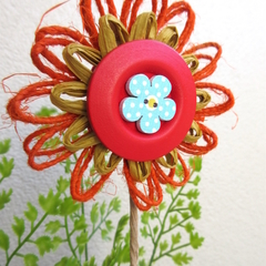 Floral Pick Plant Stake Hemp Twine Paper Raffia Blossom Rustic Button Decoration