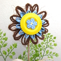 Floral Pick Plant Stake Hemp Twine Paper Raffia Blossom Button Decoration