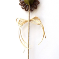 Floral Pick Plant Stake Natural Fibre Twine Blossom Button Decoration