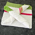 Set (3) coordinating cotton cloths in green and white