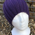Men's Brimless  skullie beanie stretch fit to stay on your head. DEEP PURPLE