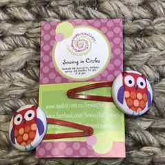 Red owls hair clips