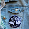 Tree and Birds Transitional embroidered and iron on patch