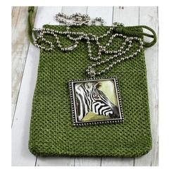 Zebra original art pendant