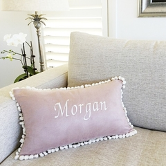 Personalised Lumbar Cushion. River Rose Suede with Pom Poms 30x50cm
