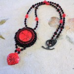 Red and Black beaded necklace pendant