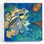 Original painting of exotic fish. Oil paint on canvas. Blue/orange colouring.