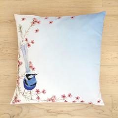 Splendid Blue Wren Cushion Cover corner bird