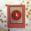 'Star Sign Virgo' Red Birthday Card with Girl and Stars