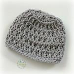 Pale Grey Vintage Crochet Newborn Baby Beanie