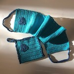 Back Scrubber and Bath Mitt - Turquoise and Navy Blue