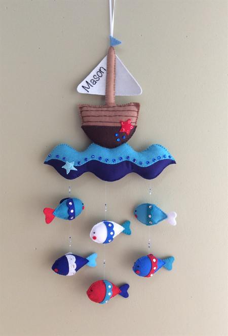 Nautical Mobile, Nursery, Baby Gift, Kids Room Decor, Wall Decor