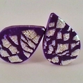 Purple & silver foil tear drop polymer clay stud