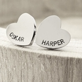 Hand Stamped Heart Studs, Personalised Stud Earrings, Gift For Her, Heart