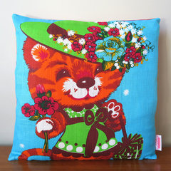 Vintage Retro Ginger Tabby Kitty Cat Cushion