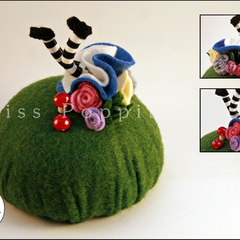 Down the Rabbit Hole Pin Cushion - made to order. FREE postage