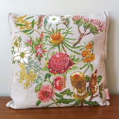 Vintage Retro Australian Banksia Wildflowers Linen Cushion