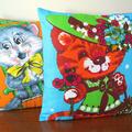 Vintage Retro Ginger Tabby Kitty Cat Linen Cushion