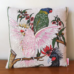 Vintage Retro Australian Birds Cockatoo Parrot  Cushion