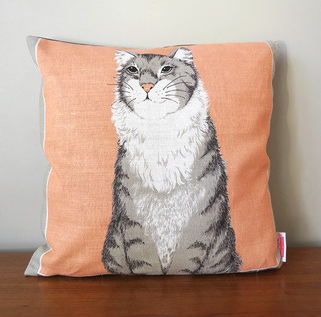 Vintage Retro Tabby Kitty Cat Cushion