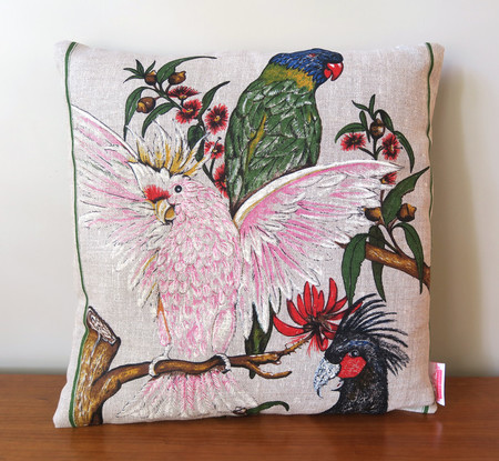 Vintage Retro Australian Birds Cockatoo Parrot  Cushion