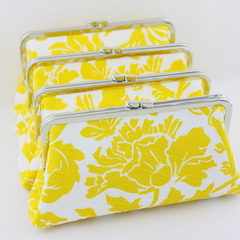 Yellow & White Floral Bridesmaids Clutch - Set of 4
