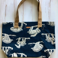 Large shopping tote bag in blue sloth fabric. Cotton tote bag, shopper bag