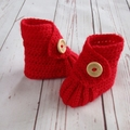 Crochet baby booties, stay on newborn boots, pregnancy announcement, gift, red