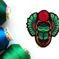 Egyptian Green Scarab Beetle Embroidered and Iron on Patch