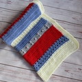 Crochet baby blanket | red, blue, white, grey | baby shower gift | newborn