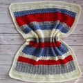 Crochet baby blanket red, blue, white, grey; baby shower gift; newborn rug