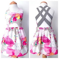 Size 2  - Summer Dress - Rainbows - Cotton - Retro - Pink - Bright