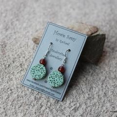 Mint lava stone coins, Czech glass, Sterling Silver, earring
