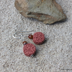 Red lava stone coins, Czech glass, Sterling Silver, earring