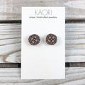 Handcrafted polymer clay stud earrings in cognac orange floral